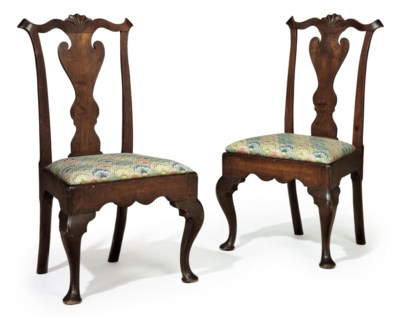 A PAIR OF QUEEN ANNE CARVED WA