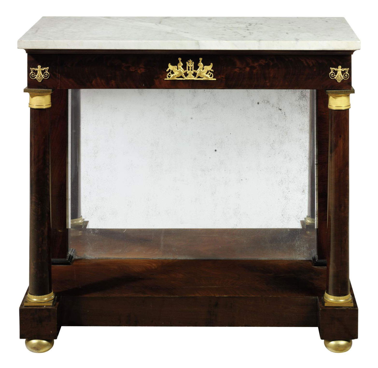 A CLASSICAL MAHOGANY MARBLE-TOP PIER TABLE