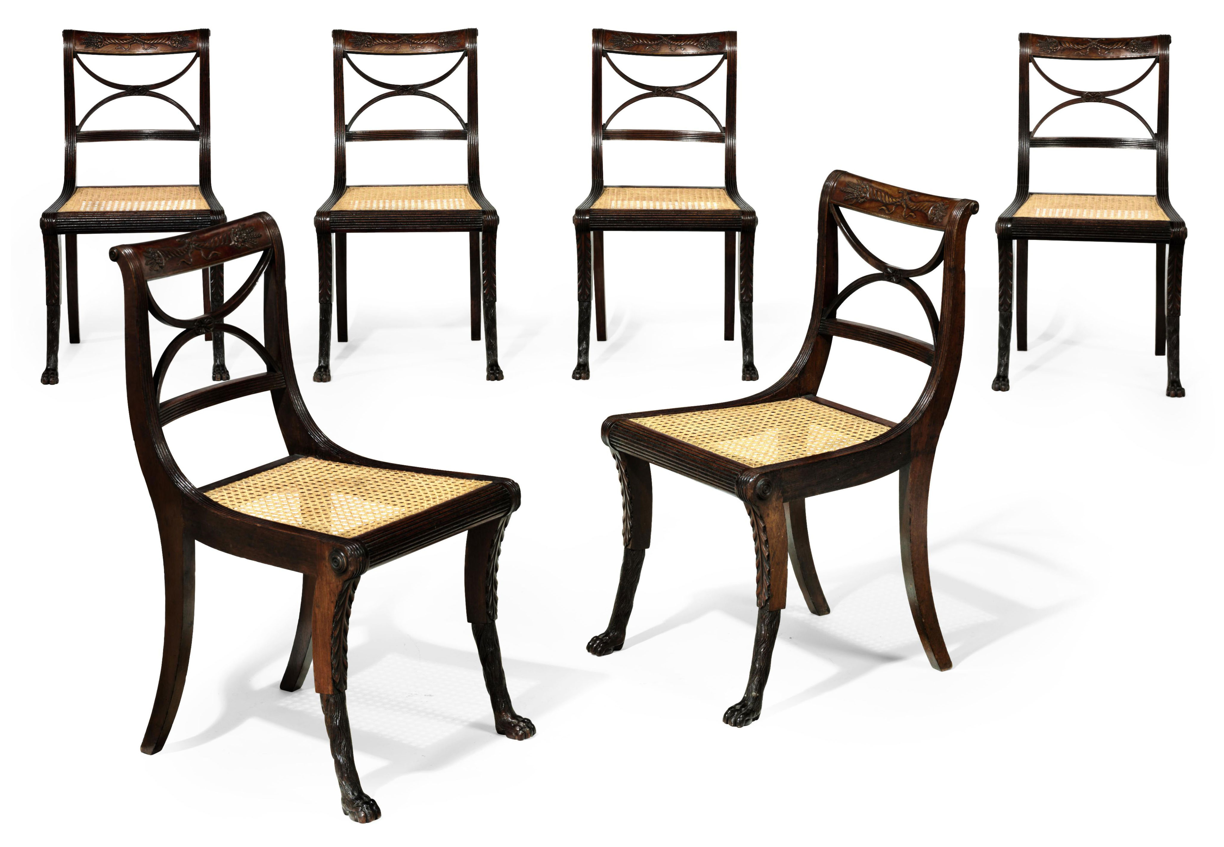 A SET OF SIX CLASSICAL CARVED MAHOGANY SIDE CHAIRS