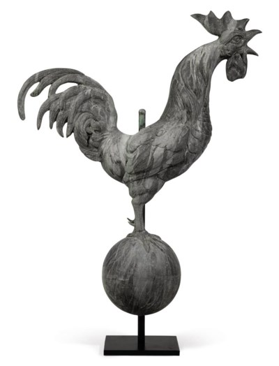 A ZINC ROOSTER WEATHERVANE