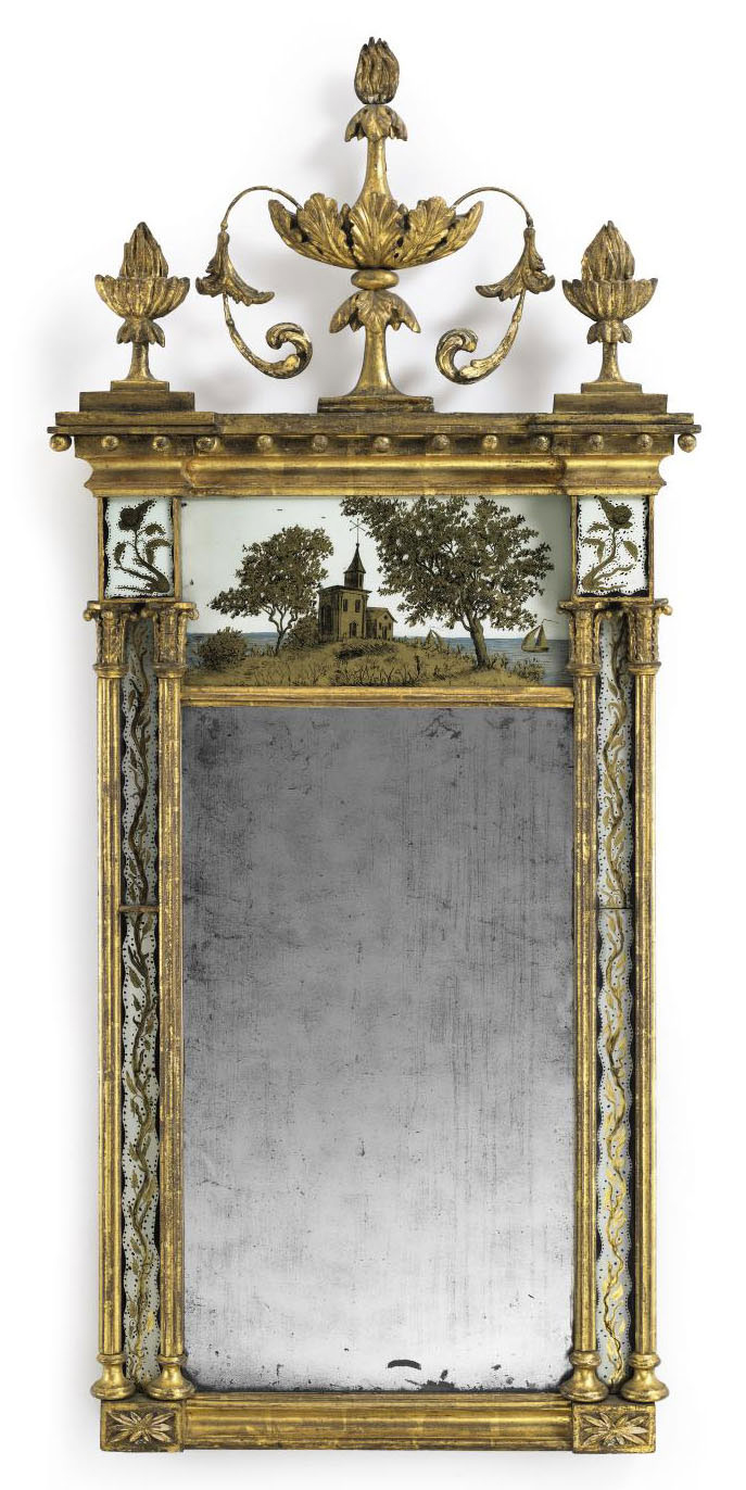A FEDERAL GILTWOOD AND EGLOMISE LOOKING GLASS