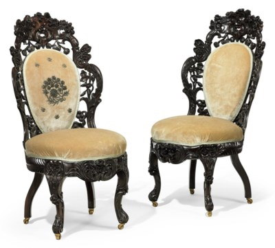 A PAIR OF ROCOCO REVIVAL CARVE