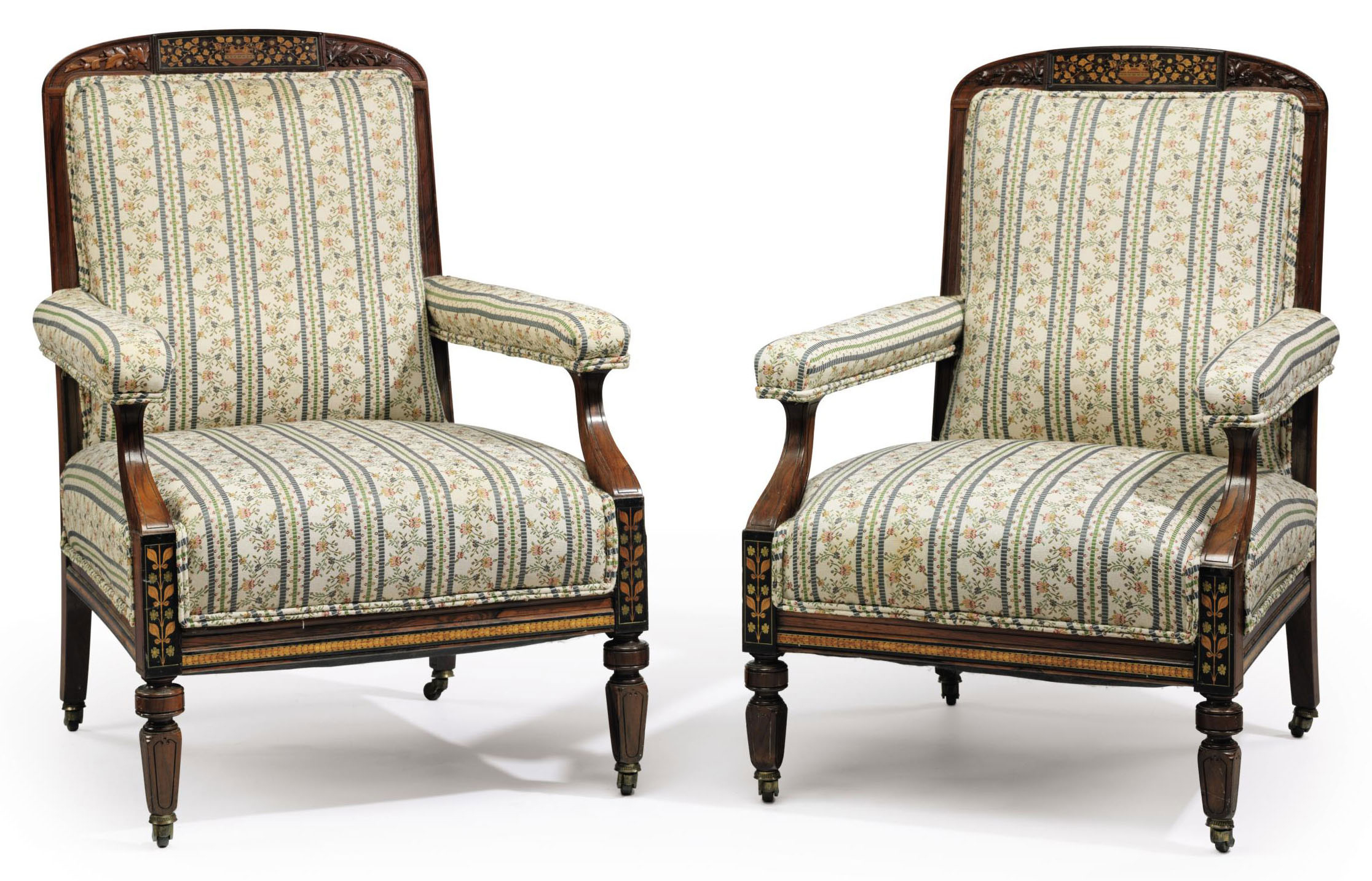 TWO AESTHETIC MOVEMENT AND MARQUETRY-INLAID ROSEWOOD EN SUITE ARMCHAIRS