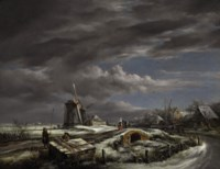 A winter landscape with with figures on a path, a footbridge and windmills beyond