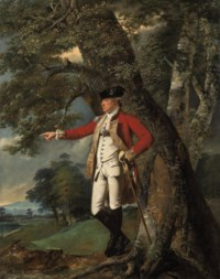 Portrait of Colonel Charles Heathcote (1730-1803), full-length, in the uniform of the 35th Foot, in a wooded landscape