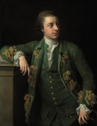 Portrait of Thomas Fortescue, M.P. (b. 1744), three-quarter-length, in a gold brocaded green coat, a tricorn in his left hand
