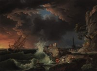 A shipwreck with figures coming ashore