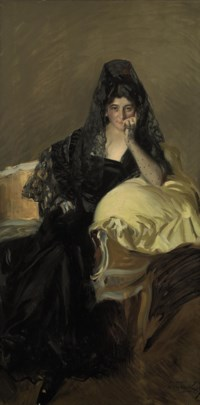 Portrait of Señora de Urcola wearing a black mantilla