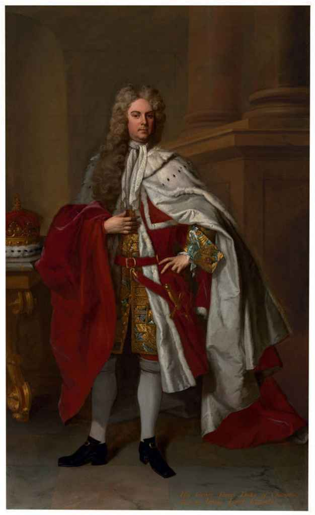 Portrait of James Brydges, 1st Duke of Chandos, full-length, in peer's robes with a ducal coronet