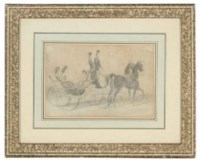 Elegant ladies in a horse and carriage