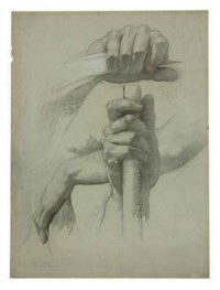 A study of two hands holding a pole for the mural in the Mahoning Court House, Youngstown, Ohio
