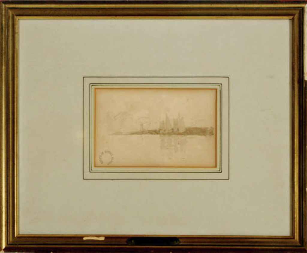 A schooner in a calm; and a companion print