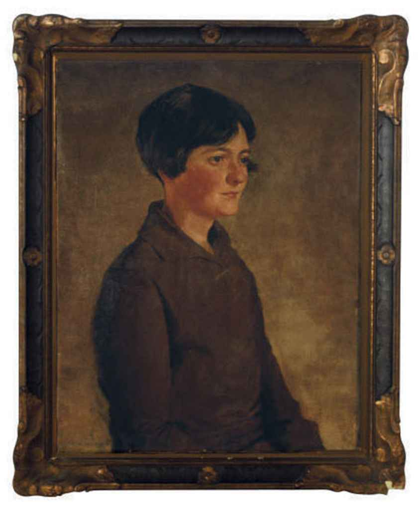 Portrait of a girl wearing a brown dress