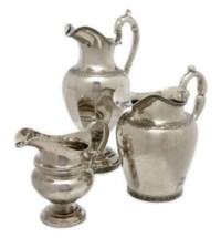 THREE AMERICAN SILVER PITCHERS,