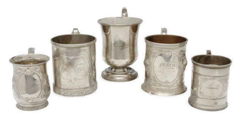 NINE AMERICAN SILVER CHRISTENING CUPS,