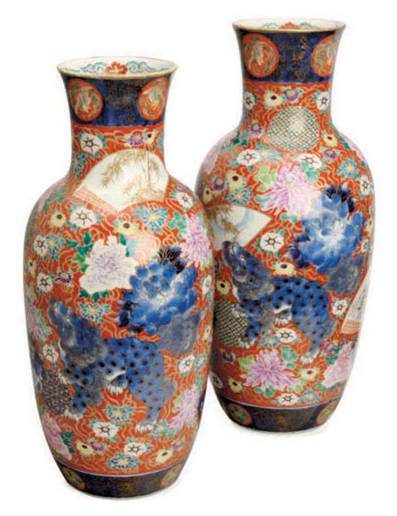 A PAIR OF JAPANESE PORCELAIN VASES,