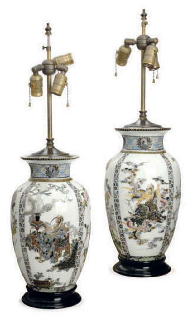 A PAIR OF JAPANESE ENAMELED VASES MOUNTED AS LAMPS,