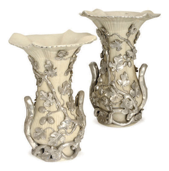 A PAIR OF LATE 19TH CENTURY LANGEAIS CELADON AND PLATINUM CREAMWARE GADROONED VASES,
