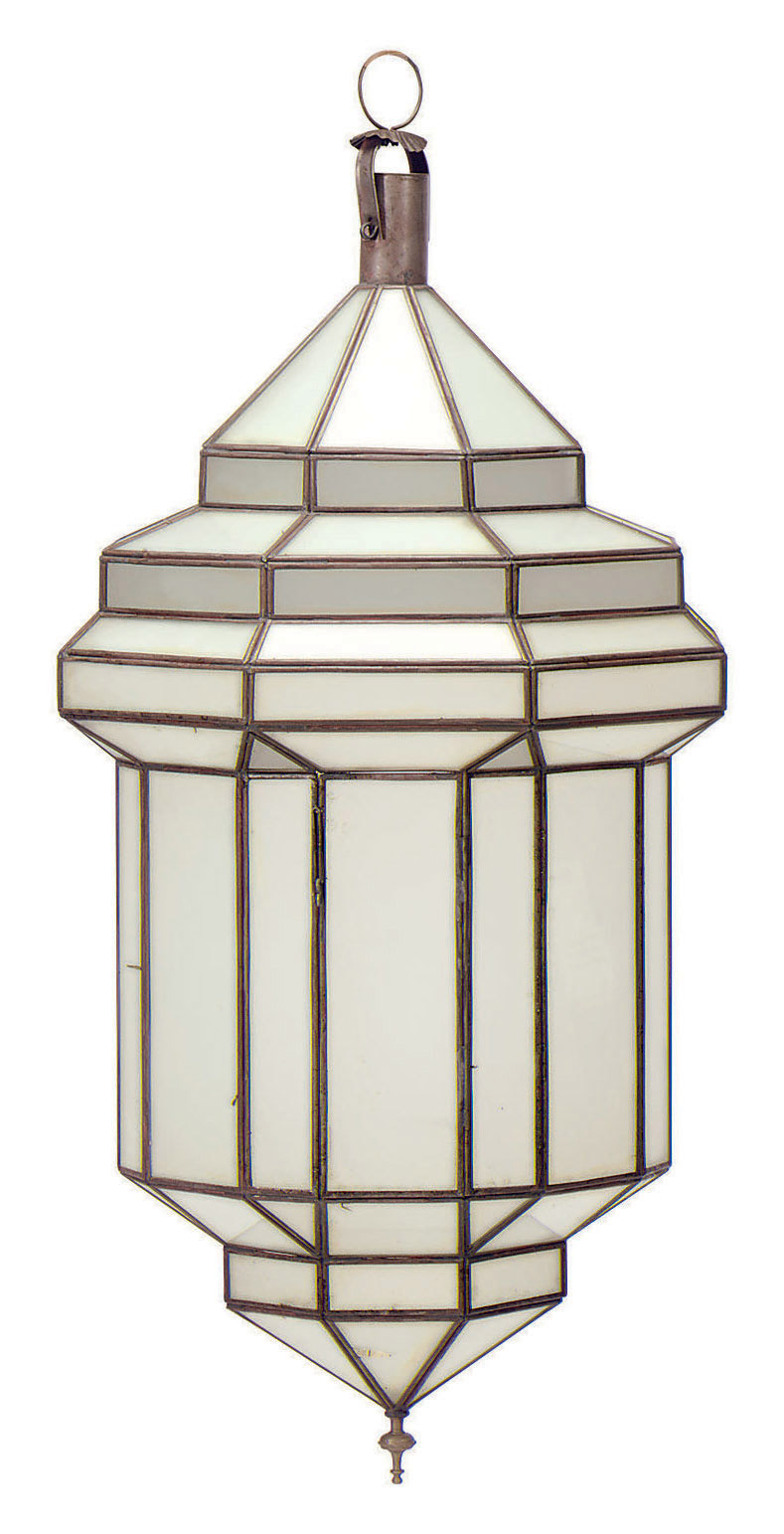 A PAIR OF FROSTED GLASS AND METAL OCTAGONAL LANTERNS,