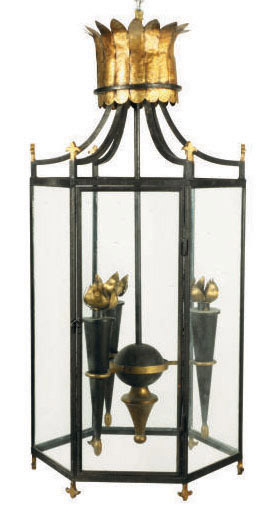 A PAIR OF FRENCH PATINATED AND PARCEL-GILT WROUGHT IRON THREE-LIGHT LANTERNS,