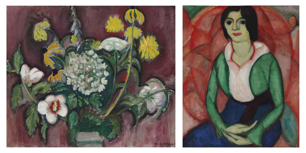 Floral Still Life; and Woman in Green: A Double-Sided Work