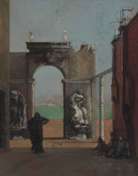 Figures Before a Classical Arch