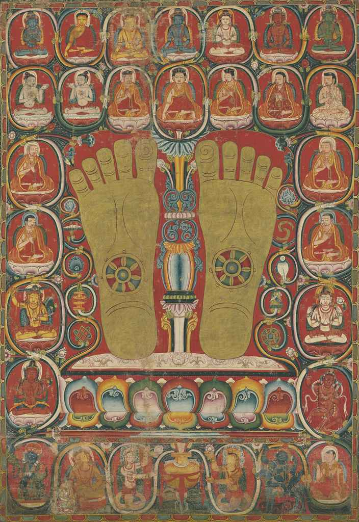 An important thangka with the Footprints of the Third Karmapa, Rangjung Dorje