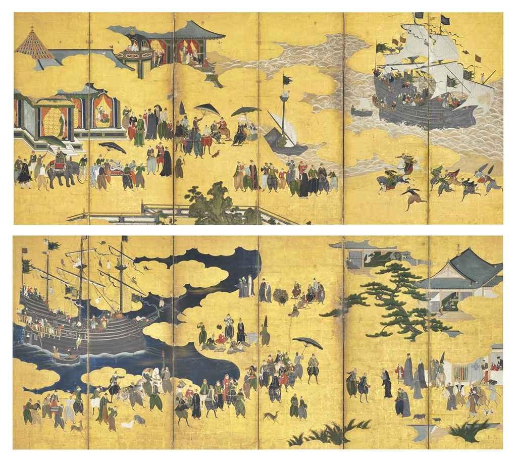 (传)狩野内膳(1570-1616),《南蛮贸易》。纸本金地设色。各63 x 142 ¼�迹�160 x 360.4公分),共两幅。此作于2011年3月23日在佳士得纽约售出,成交价4,786,500美元