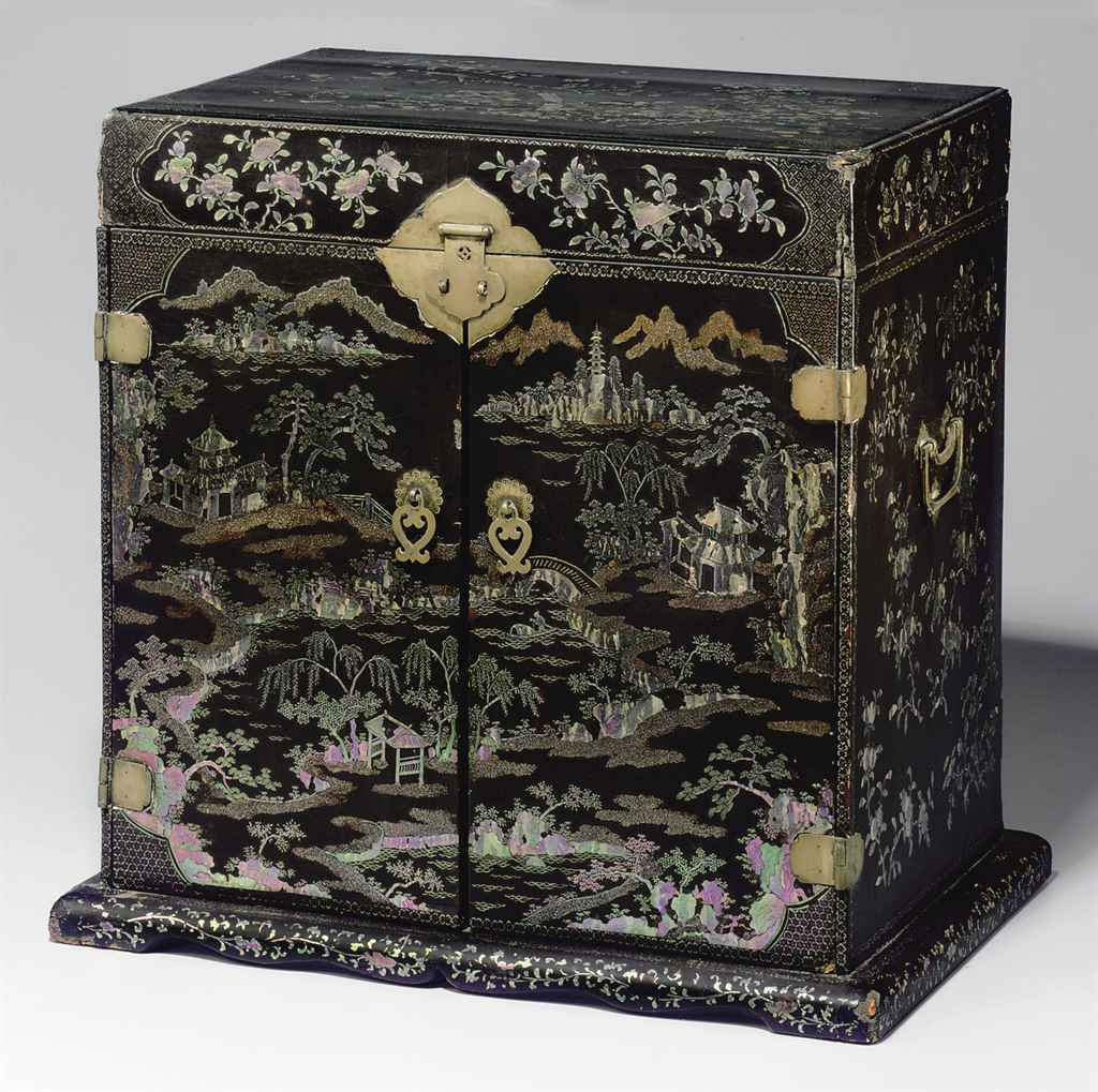 A Rare Mother Of Pearl Inlaid Black Lacquer Seal Chest Guanpixiang