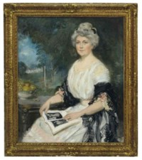 Portrait of an elegant lady reading a book in a landscape