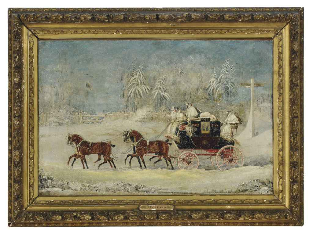 A horse pulled coach in a snowy landscape