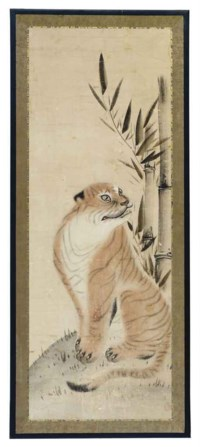 A JAPANESE PAINTING OF A TIGER,