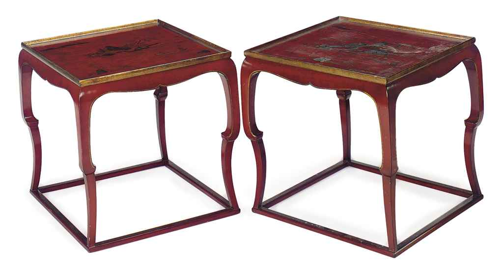 A PAIR OF RED AND GILT-JAPANNE