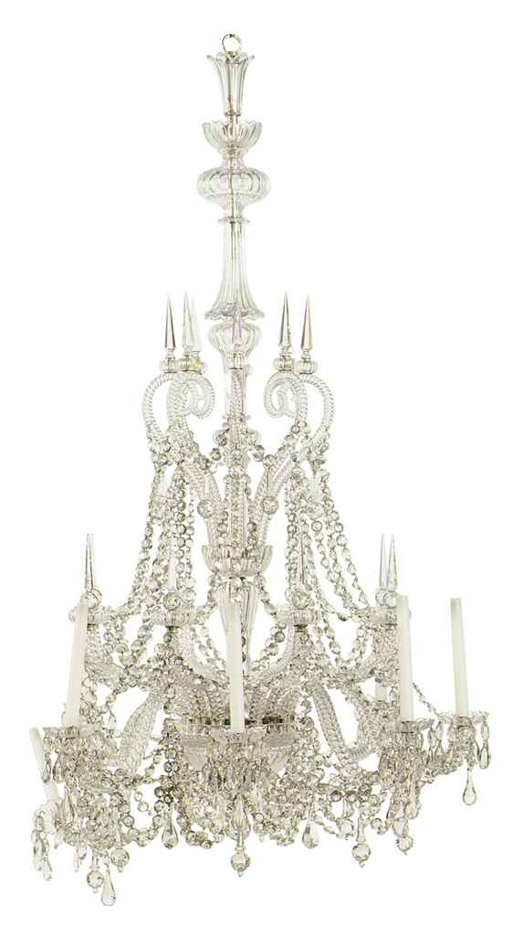 A FRENCH CUT-GLASS EIGHT-LIGHT