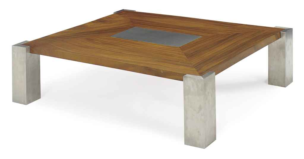 A BRUSHED-STEEL AND WALNUT SQU