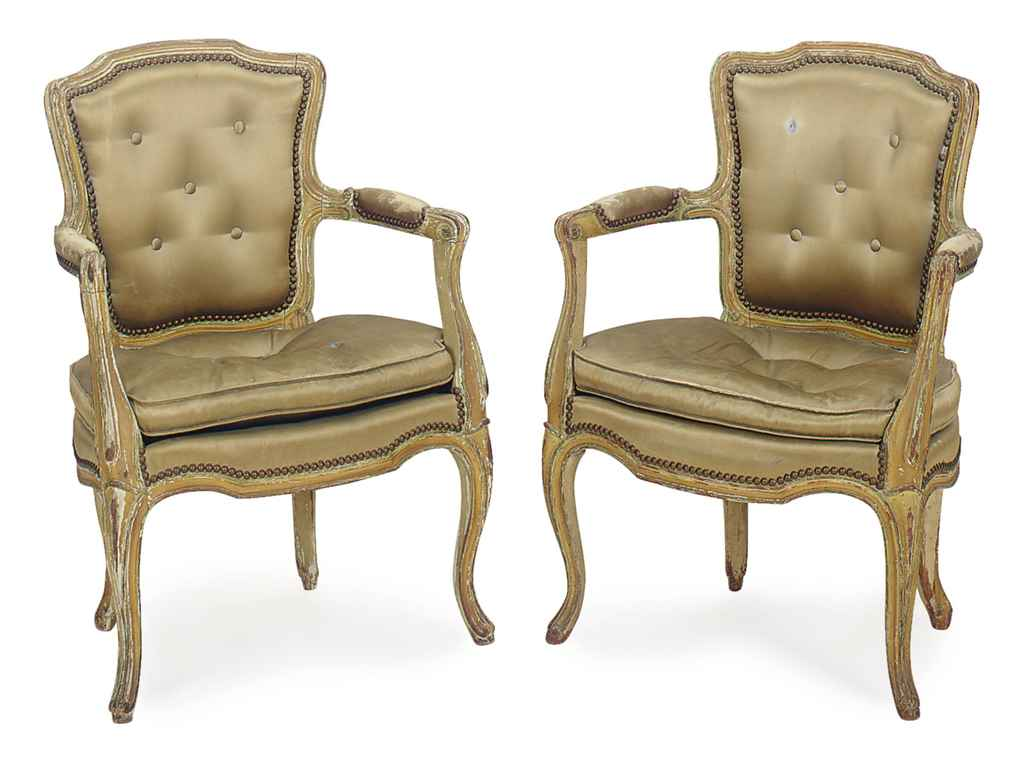 A PAIR OF LOUIS XV YELLOW-PAIN