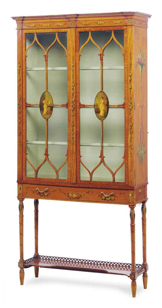 AN EDWARDIAN PAINTED SATINWOOD