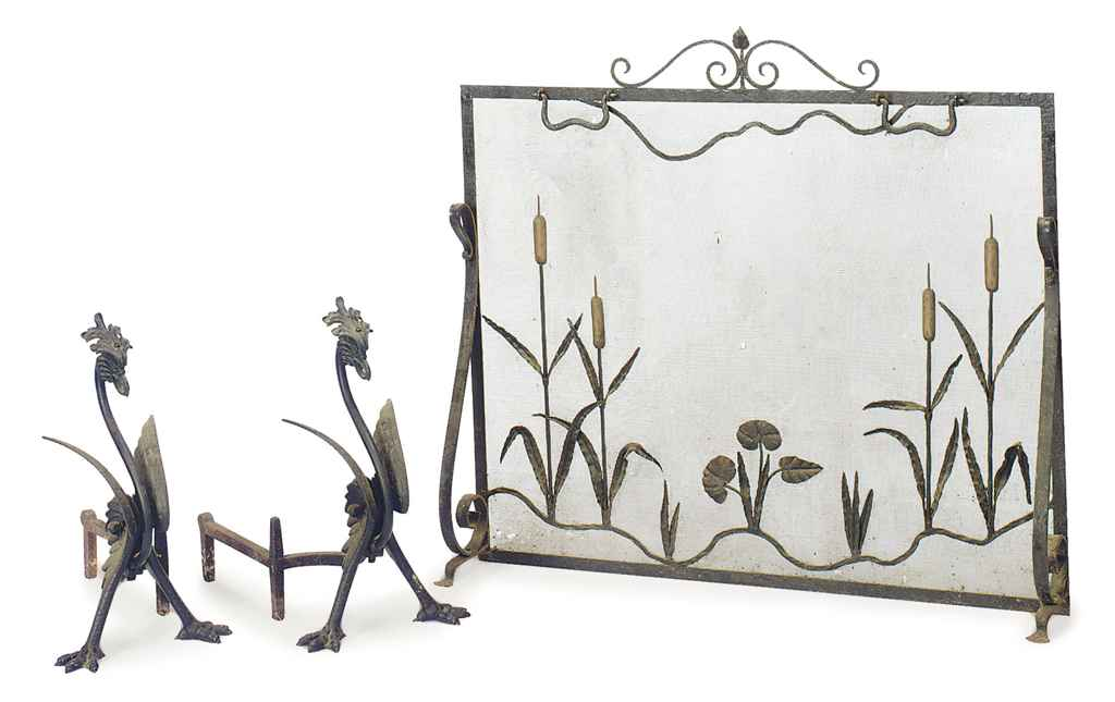 A GROUP OF WROUGHT IRON FIREPL