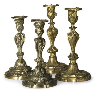 TWO PAIRS OF FRENCH GILT BRONZ