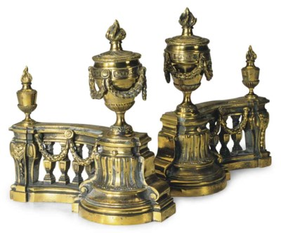 A PAIR OF FRENCH GILT METAL BR