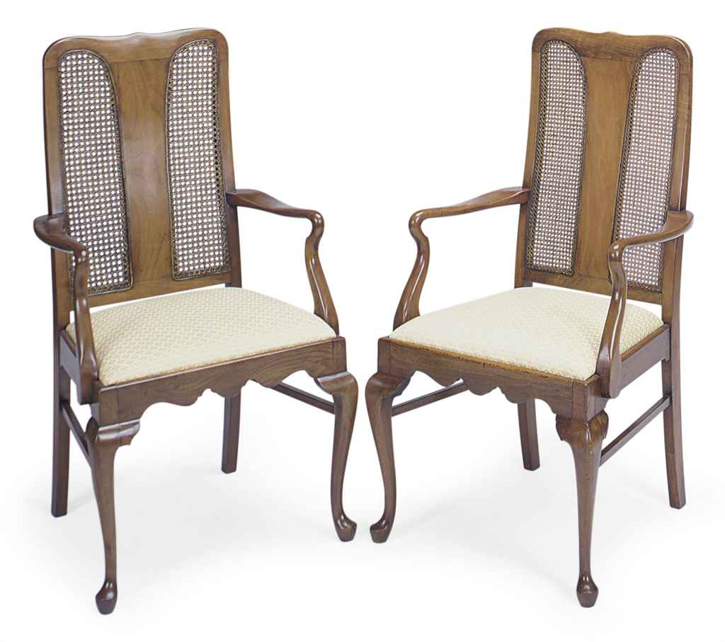 A PAIR OF CANED MAHOGANY OPEN
