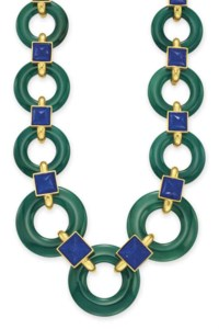 A CHALCEDONY, LAPIS LAZULI AND GOLD NECKLACE, BY ALDO CIPULLO