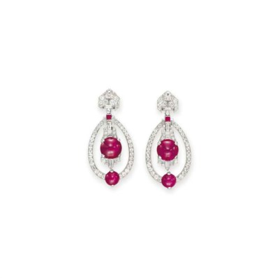 A PAIR OF ART DECO DIAMOND AND RUBY EAR PENDANTS, BY