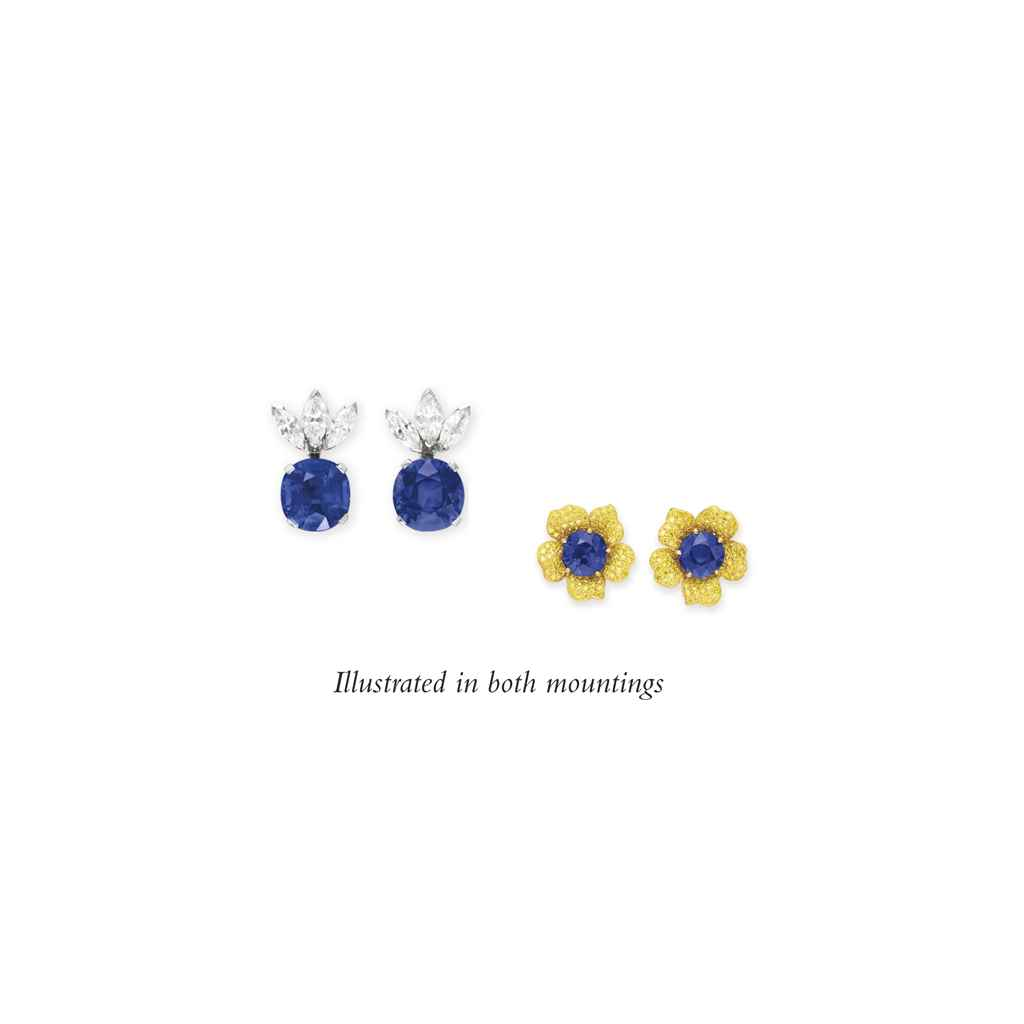 A PAIR OF SAPPHIRE AND DIAMOND EAR PENDANTS, BY HARRY WINSTON
