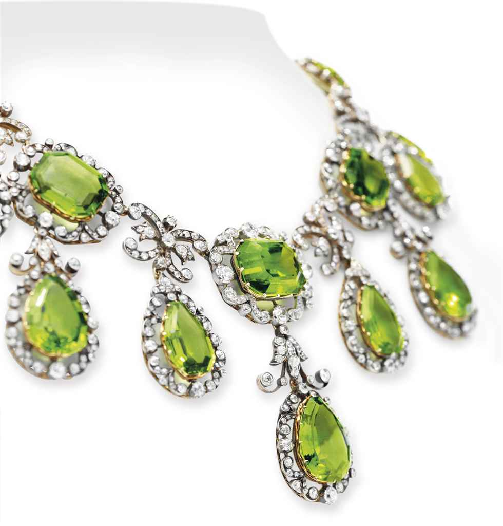 An antique peridot and diamond necklace, circa 1870, with current valuation of $250,000 to $350,000 (around £197,000 to £276,000)