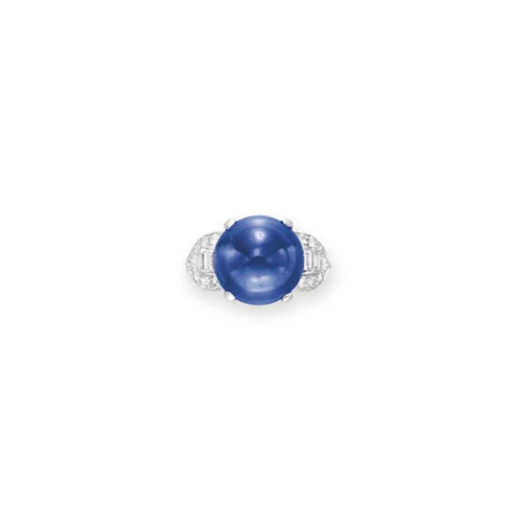 A SAPPHIRE AND DIAMOND RING, BY TRABERT & HOEFFER, MAUBOUSSIN