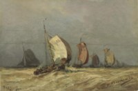 Sailboats on a stormy sea