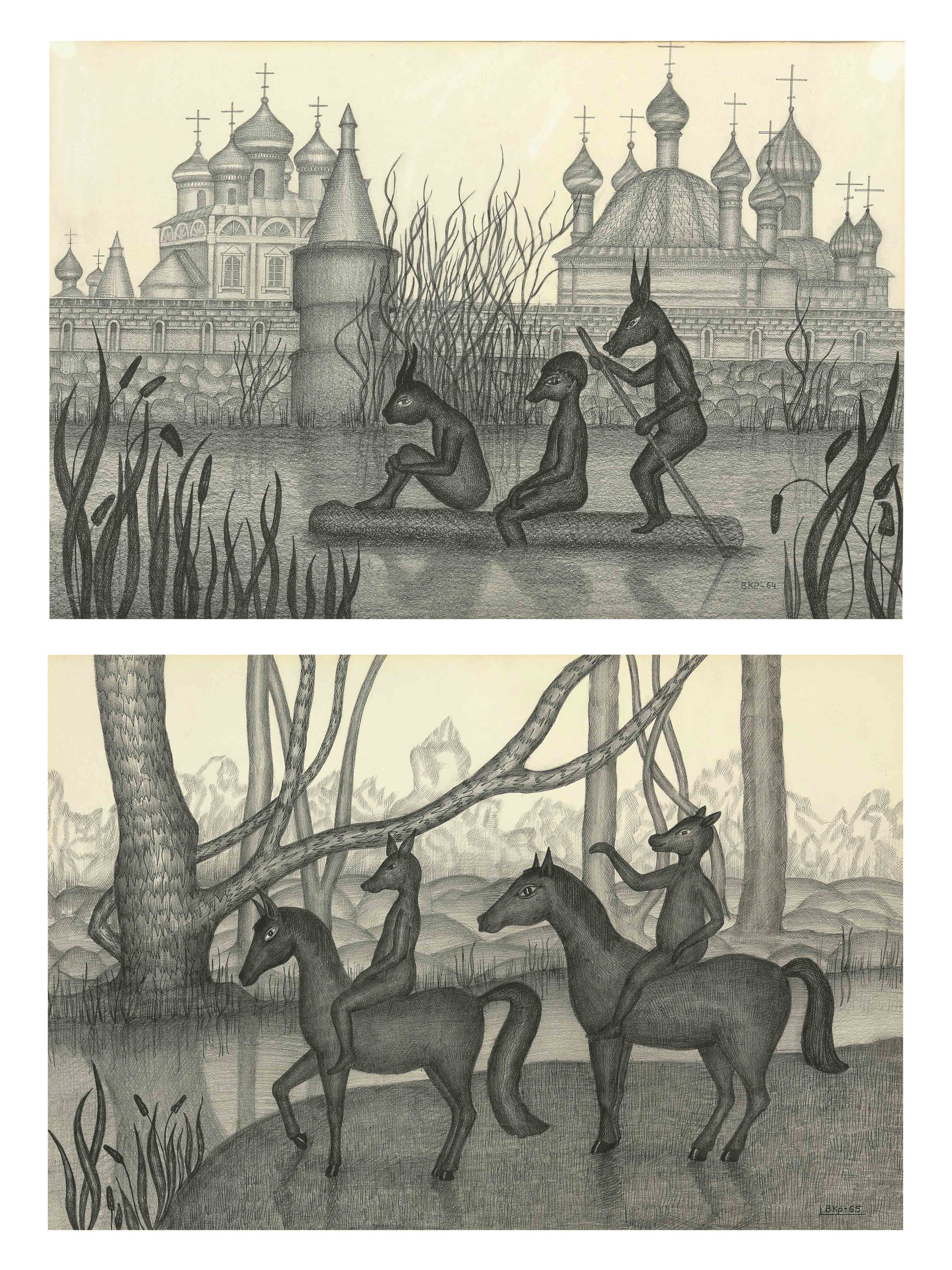 Two drawings (Figures in a landscape)