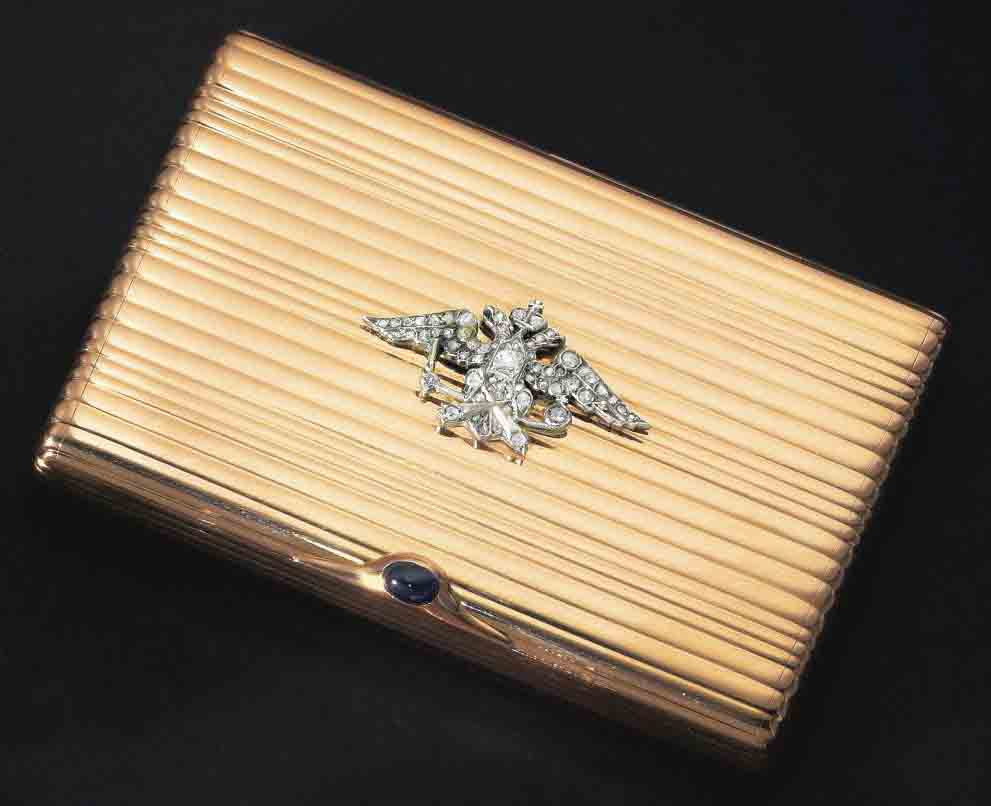 A Jewelled Gold Imperial Presentation Cigarette Case