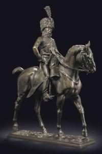 A Bronze Group of a Hussar